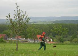 Ein Mann in Arbeitskleidung arbeitet auf einer Wiese mit einem Rasentrimmer.