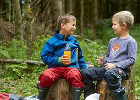 Zwei kleine Jungs sitzen auf Baumstümpfen im Wald und lachen sich an.
