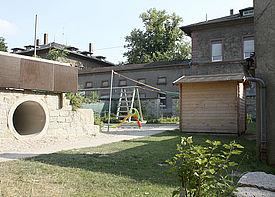 Ansicht des Außengeländes der Kindertagesstätte Sternenzelt in Bruchsal