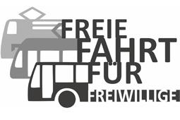 Das Logo der Aktion Freie Fahrt für Freiwillige zeigt drei Fahrzeuge sowie den Spruch Freie Fahrt für Freiwillige.