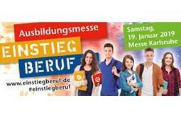 Auf dem Banner der Messe sind fünf Jugendliche zu sehen sowie der Schriftzug Ausbildungsmesse Einstieg Beruf.