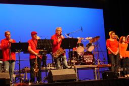 Musiker und Sänger stehen auf einer Bühne.