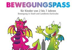 """Ein gezeichnetes Bild mit der Überschrift """"Bewegungspass"""" zeigt zwei Drachen, die sich unterhalten."""