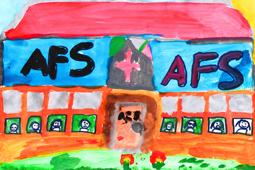 Ein mit Wasserfarben gemaltes Bild zeigt ein Schulhaus, auf dem die Buchstaben AFS zu lesen sind.